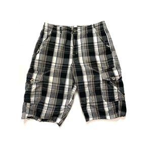 Helix Black & White Plaid Cargo Shorts Waist 30